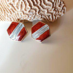 Vintage Hexagon Enamel Brown Blue Stud Earrings